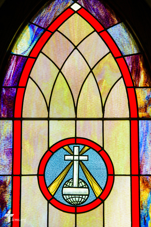 Stained glass depicting Jesus Christ as the light of the world, at Zion Evangelical Lutheran Church, Lu Verne, Iowa, on Sunday, July 9, 2017. LCMS Communications/Erik M. Lunsford