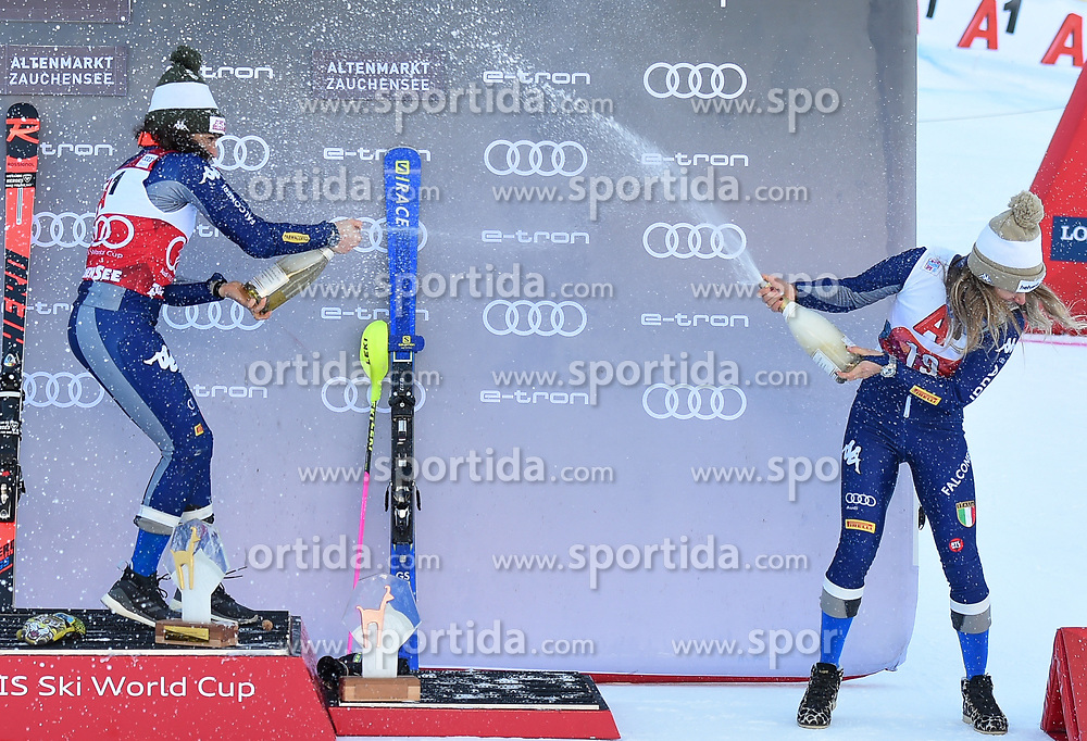 26.10.2019, Keelberloch Rennstrecke, Altenmark, AUT, FIS Weltcup Ski Alpin, Alpine Kombination, Damen, Siegerehrung, im Bild Federica Brignone (ITA) Marta Bassino (ITA) // Federica Brignone of Italy Marta Bassino of Italy during the winner ceremony of women's Alpine combined for the FIS ski alpine world cup at the Keelberloch Rennstrecke in Altenmark, Austria on 2019/10/26. EXPA Pictures © 2020, PhotoCredit: EXPA/ Erich Spiess