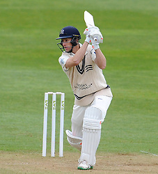 Middlesex's Adam Voges drives the ball off the bowling of Somerset's Tim Groenewald. - Photo mandatory by-line: Harry Trump/JMP - Mobile: 07966 386802 - 27/04/15 - SPORT - CRICKET - LVCC Division One - County Championship - Somerset v Middlesex - Day 2 - The County Ground, Taunton, England.