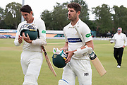 Colin Ackemann leaves the field 57* at Lunch during the Specsavers County Champ Div 2 match between Leicestershire County Cricket Club and Durham County Cricket Club at the Fischer County Ground, Grace Road, Leicester, United Kingdom on 8 July 2019.