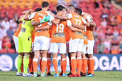 January 18, 2018 - Brisbane, QUEENSLAND, AUSTRALIA - Brisbane Roar players form a huddle before the round seventeen Hyundai A-League match between the Brisbane Roar and the Perth Glory at Suncorp Stadium on January 18, 2018 in Brisbane, Australia. (Credit Image: © Albert Perez via ZUMA Wire)