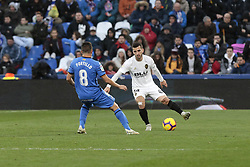 November 10, 2018 - Getafe, Madrid, Spain - Getafe CF's Francisco Portillo and Valencia CF's Jose Gaya during La Liga match between Getafe CF and Valencia CF at Coliseum Alfonso Perez in Getafe, Spain. November 10, 2018. (Credit Image: © A. Ware/NurPhoto via ZUMA Press)