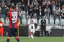September 26, 2018 - Turin, Piedmont, Italy - Paulo Dybala (Juventus FC)  celebrates after scoring the opening goal during the Serie A football match between Juventus FC and Bologna FC at Allianz Stadium on September 26, 2018 in Turin, Italy. .Juventus won 2-0 over Bologna. (Credit Image: © Massimiliano Ferraro/NurPhoto/ZUMA Press)