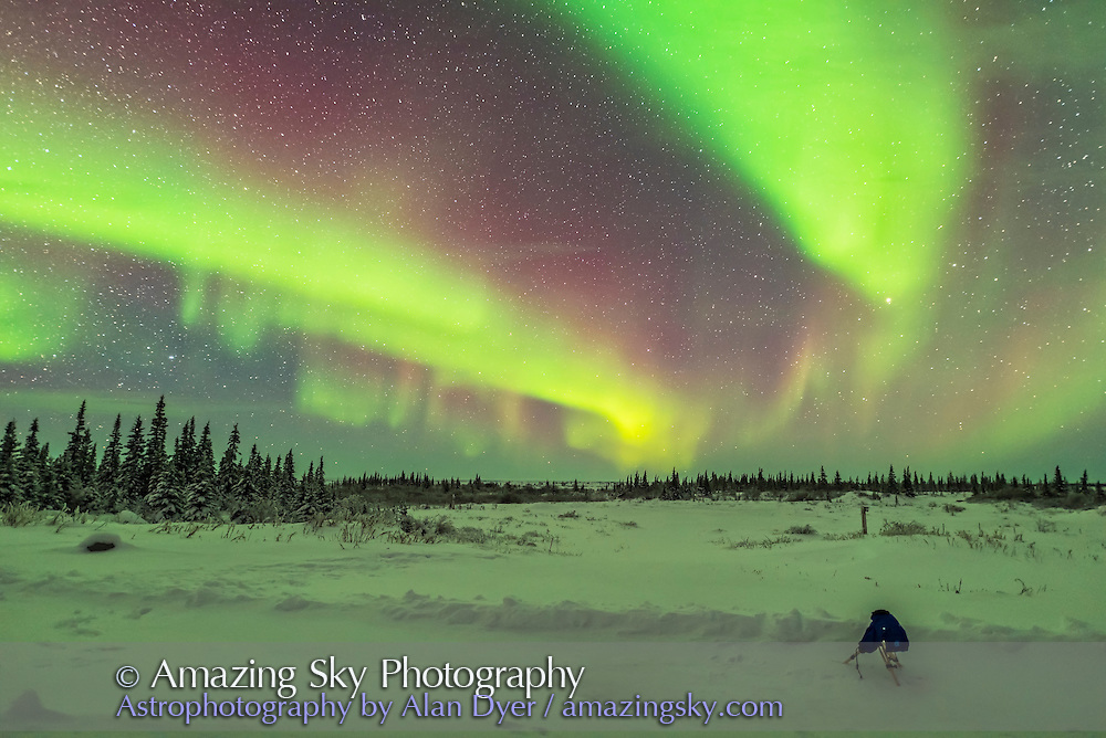 My Canon 6D shooting a fish-eye time-lapse at the Churchill Northern Studies Centre, under the aurora, and inside a Camera Parka cover.