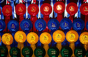 Before finalists take part in their last exercises at a gymkhana pony competition, these rosettes prizes seen here in close-up detail wait to be claimed by young winners and losers. From the top we see prizes for Reserve Champions then those for 1st prize, then second, third and runners-up at the very bottom. Such accolades are won and lost by fractions of a second but their importance is remembered for years afterwards as young girls desperately practice to improve their equestrian skills. A huge commitment is needed by the girls and their parents who spend great deals of money and time for these treasured prizes which can be won or lost by fractions of seconds or single points. Those that fail to win go home feeling empty-handed or perhaps cheated out of victory and glory. Those who win hang them on bedroom walls for years to come.