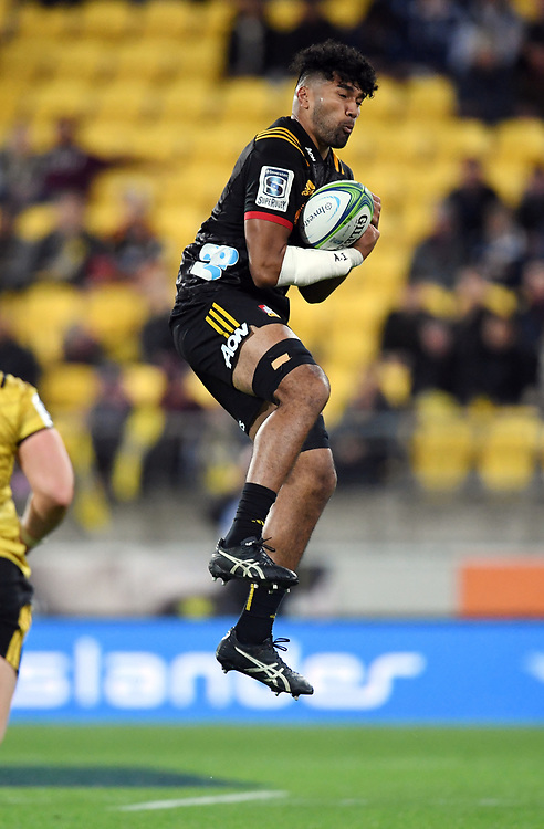 Chiefs Taleni Seu against the Hurricanes in the Super Rugby match at Westpac Stadium, Napier, New Zealand, Friday, April 13, 2018. Credit:SNPA / Ross Setford