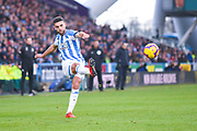 Tommy Smith of Huddersfield Town (2) crosses the ball during the Premier League match between Huddersfield Town and Arsenal at the John Smiths Stadium, Huddersfield, England on 9 February 2019.
