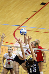 26 October 2007: Erin Lindsey and Kasey Mollerus watch Kristin Dziubla power the ball towards Alisa DeBerg Roth. The Drake Bulldogs were defeated 3 - 0  by the Illinois State Redbirds at Redbird Arena on the campus of Illinois State University in Normal Illinois.