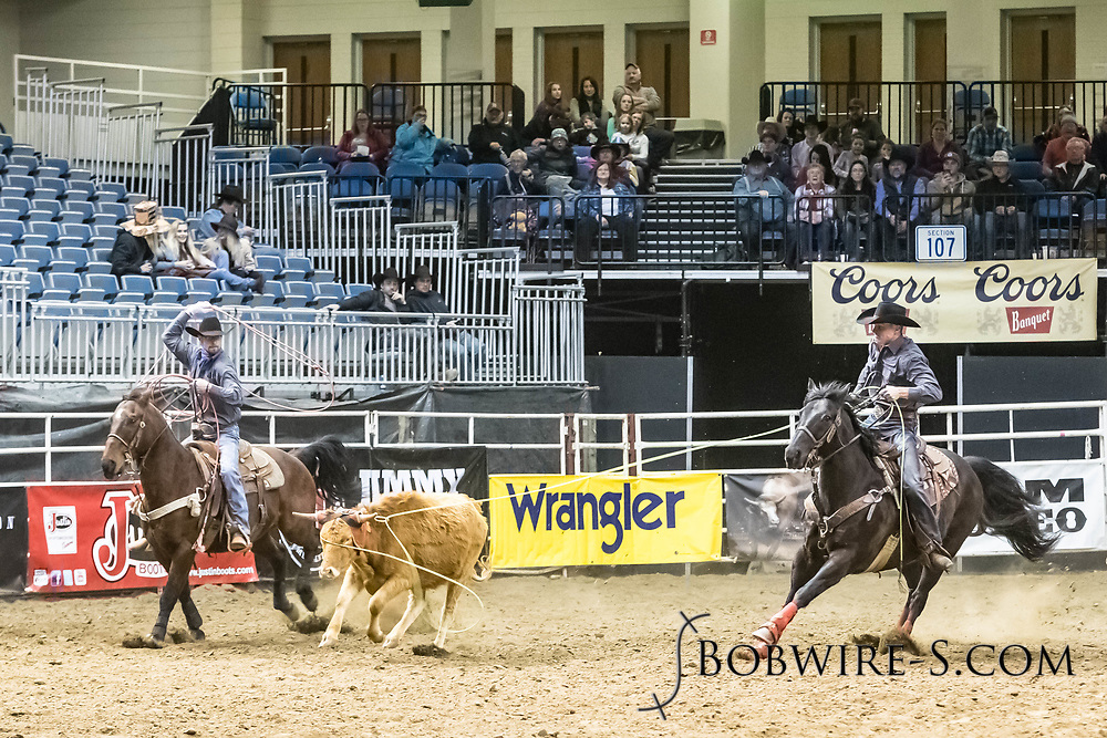 Nate Horner and Jesse Dale compete in team roping at the Bismarck Rodeo on Friday, Feb. 2, 2018. They had a no time on their run.