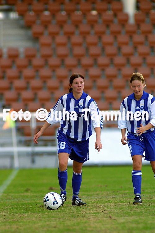 27.04.2002, Finnair Stadium, Helsinki, Finland..Women's UEFA Cup, semifinal, second leg match, .HJK Helsinki (Finland) v Ume? IK (Sweden)..Sanna Valkonen - HJK.©Juha Tamminen