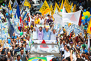 Belo Horizonte_MG, Brasil...Segundo turno Campanha Presidencial 2010. O ex-governador e senador eleito Aecio Neves participa de evento na cidade ao lado do presidenciavel Jose Serra, do governador de Minas Gerais Antonio Anastasia e do senador Itamar Franco...Presidential Campaign 2010. The former governor and senator-elect Aecio Neves participates in an event in the city next to the presidential candidate Jose Serra, the governor of Minas Gerais Antonio Anastasia and Senator Itamar Franco...Foto: LEO DRUMOND / NITRO