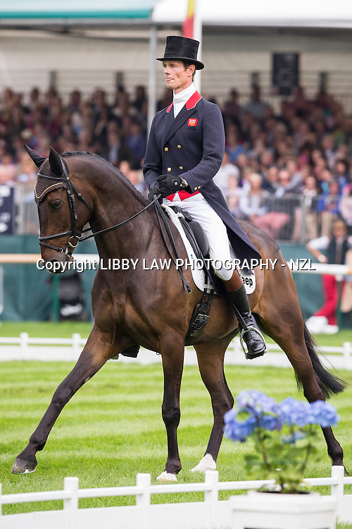 GBR-William Fox-Pitt (BAY MY HERO) INTERIM-2ND: SECOND DAY OF DRESSAGE: 2014 GBR-Land Rover Burghley Horse Trial (Friday 5 September) CREDIT: Libby Law COPYRIGHT: LIBBY LAW PHOTOGRAPHY - NZL