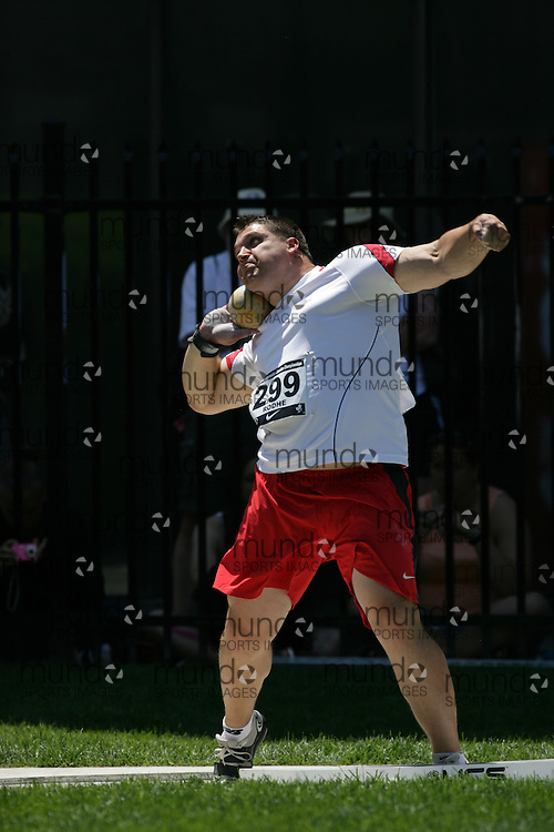 (Toronto, Ontario---27/06/09)   Justin Rodhe competing in  shot put final at the 2009 Canadian National Track and field Championships. Photograph copyright Sean Burges / Mundo Sport Images, 2009. www.mundosportimages.com / www.msievents.
