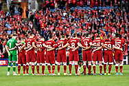 May 24, 2017: Liverpool stand for one minute silence in respect of the terrorist attacks in Manchester at the soccer match, between English Premiere League team Liverpool FC and Sydney FC, played at ANZ Stadium in Sydney, NSW Australia.