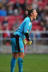 Mary Earps of Reading Women shouts instructions to her team mates - Mandatory by-line: Paul Knight/JMP - 22/04/2017 - FOOTBALL - Ashton Gate - Bristol, England - Bristol City Women v Reading Women - FA Women's Super League 1 Spring Series
