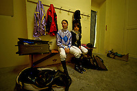 CABRIES, FRANCE - April 01:Jockey, soon a woman's job.<br /> In france, to become a jockey, it is necessary to pass through one of the five public schools that train to cap A, Bep and Bac A, type of A level, graduation.<br /> Pupils will become driver or jockey.<br /> Their school rhythm teeters between school and apprenticeship to horse owners where they will learn by turns all the tricks of the trade, from groom to jockey.<br /> This year, the school of Horseracing, 65% of registered students are women.<br /> Next year this percentage will raise again, which actually get horseracing crowd worried.<br /> Especially because, according to an animator of one of these centers, the world of horseracing, on a male chauvinist level, is very close to the one of boxing ... in the fifties ...<br /> At this speed, in around ten years from now, all jockeys will be women.<br /> Could the woman possibly the horse's future ?