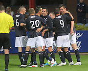 Dundee's Declan Gallagher (right) is congratulated after scoring - Dundee v Rangers - pre-season friendly to celebrate Dundee's 120th Aniversary at Dens Park<br /> <br />  - Pictures from David Young