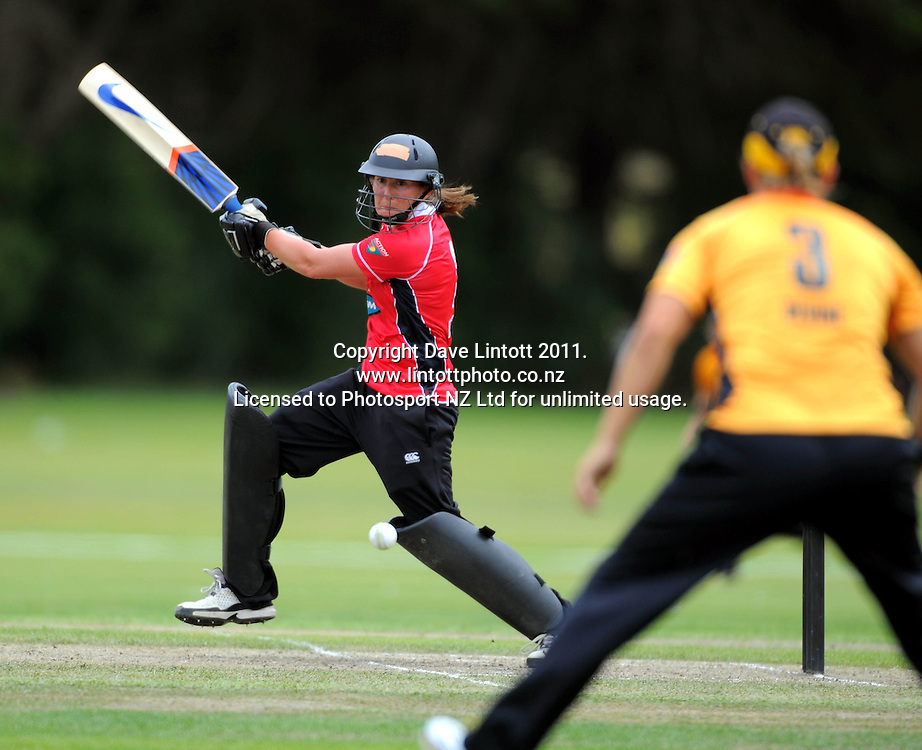 Magicians batter Maria Fahey hits out. Women's Twenty20 cricket - Wellington Blaze v Canterbury Magicians at Barton Oval, Upper Hutt, Wellington on Tuesday, 4 January 2011. Photo: Dave Lintott / photosport.co.nz