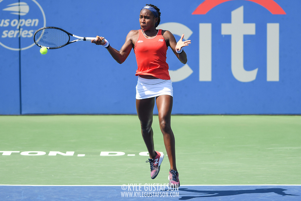 COCO GAUFF hits a forehand at the Rock Creek Tennis Center.
