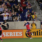 Harrison Shipp, (centre), Chicago Fire, celebrates after  completing his hat trick during the New York Red Bulls Vs Chicago Fire, Major League Soccer regular season match won 5-4 by the Chicago Fire at Red Bull Arena, Harrison, New Jersey. USA. 10th May 2014. Photo Tim Clayton