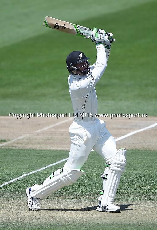 Martin Guptill hits a 6 on day 2 of the 2nd cricket test match between New Zealand Black Caps and Sri Lanka at Seddon Park in Hamilton, New Zealand. Saturday 19 December 2015. Copyright photo: Andrew Cornaga / www.photosport.nz