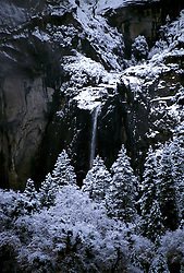 CA: Yosemite National Park, Yosemite Falls in winter      .Photo Copyright: Lee Foster, lee@fostertravel.com, www.fostertravel.com, (510) 549-2202.cayose238