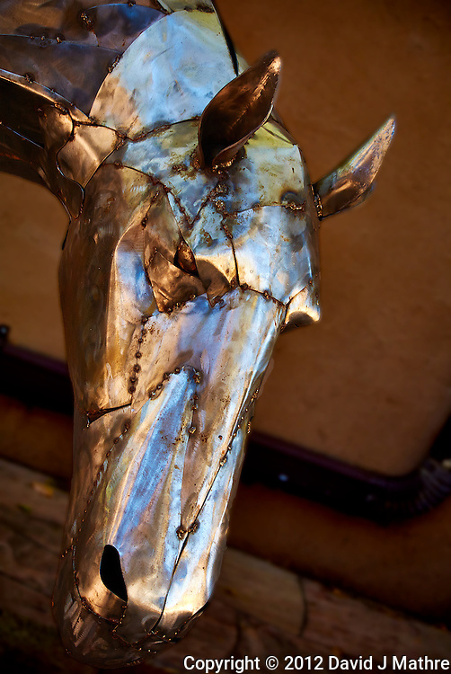 Metallic Horse Sculpture in Santa Fe, New Mexico. Image taken with a Nikon 1 V1 camera and 30-110 mm VR lens (ISO 100, 30 mm, f/3.8, 1/80 sec).