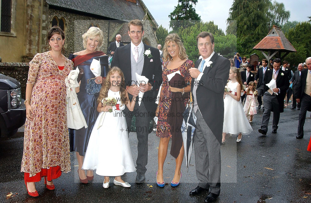 Left to right, ALICE ELLIOT, ANNABEL ELLIOT, BEN ELLIOT, KATE ELLIOT, SIMON ELLIOT and in front Mark Shand's daughter AYESHA at the wedding of Tom Parker Bowles to Sara Buys at St.Nicholas Church, Rotherfield Greys, Oxfordshire on 10th September 2005.<br /><br />NON EXCLUSIVE - WORLD RIGHTS