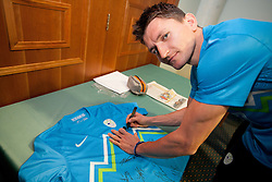Andraz Kirm during presentation of new Nike jerseys of Slovenian Nathional Football Team, on February 28, 2012 in Grand Hotel Metropol, Portoroz, Slovenia.  (Photo By Vid Ponikvar / Sportida.com)