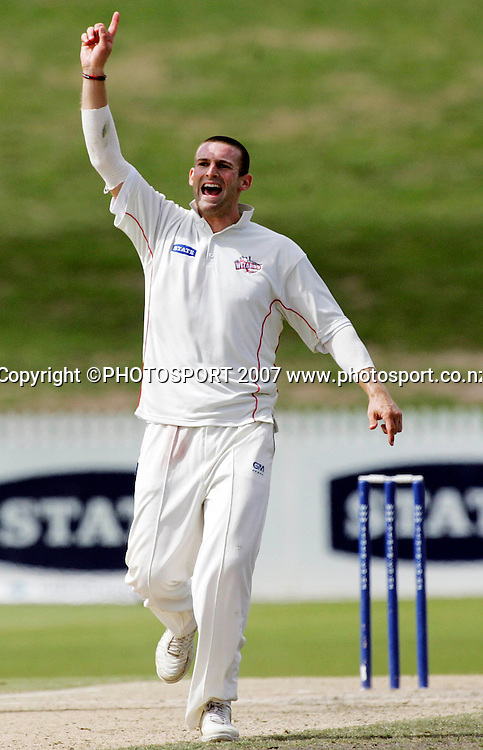 Canterbury's Andrew Ellis celebrates the wicket of Northern District's Brad Wilson during the State Championship Cricket Final between Northern Districts and Canterbury at Seddon Park, Hamilton, New Zealand on Monday 26 March 2007. Photo: Hagen Hopkins/PHOTOSPORT<br />