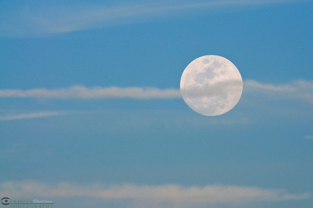 Full moon rises over the Atlantic Ocean in Guana River State Park, south-east  of Jacksonville, Florida.