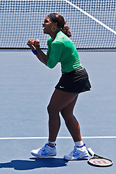 July 31, 2011; Stanford, CA, USA;  Serena Williams (USA) celebrates after winning the match against Marion Bartoli (FRA), not pictured, during the finals of the Bank of the West Classic women's tennis tournament at the Taube Family Tennis Stadium. Williams defeated Bartoli 7-5, 6-1.
