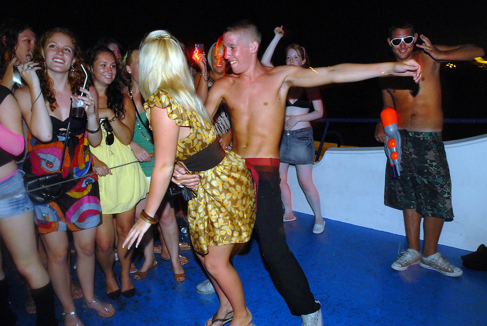 Raunchy dancing during the fantasy boat party, which takes place on board the Napa Queen boat which anchors 150 meters off the coast of  Ayia Napa, Cyprus. For three hours, teenagers enjoy strippers, sexy games and alcohol fuelled revellery.