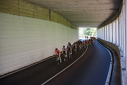 Nicole Hanselmann and Stephanie Pohl lead the peloton through a tunnel on Stage 9 of the Giro Rosa - a 122.3 km road race, between Centola fraz. Palinuro and Polla on July 8, 2017, in Salerno, Italy. (Photo by Sean Robinson/Velofocus.com)