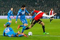 ROTTERDAM - 03-03-2016, Feyenoord - AZ, stadion de Kuip, 3-1, AZ speler Ridgeciano Haps, AZ speler Alireza Jahanbakhsh, Feyenoord speler Sven van Beek