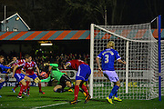 Whatmough header saved during the The FA Cup match between Aldershot Town and Portsmouth at the EBB Stadium, Aldershot, England on 19 November 2014.