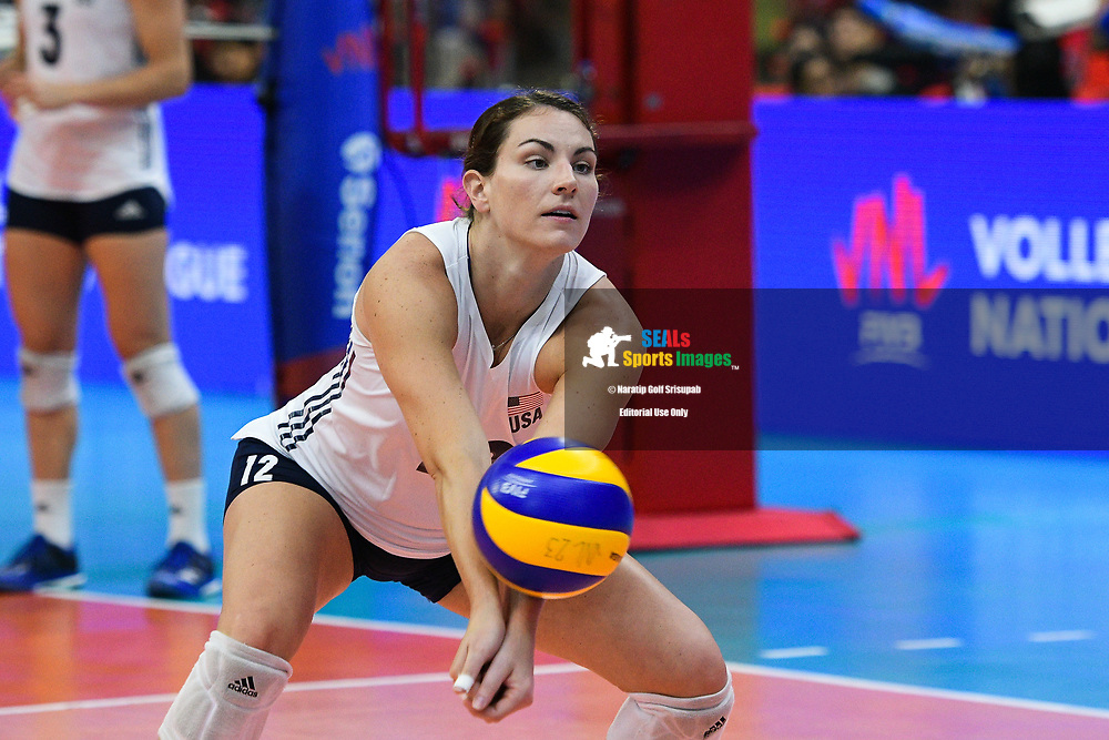 BANGKOK, THAILAND - MAY 31: Kelly Murphy #12 of USA warming-up on Day 3 for the Thailand vs USA at the FIVB Volleyball Nation League 2018, Indoor Stadium Huamark, Bangkok, Thailand on May 31, 2018. <br /> .<br /> .<br /> .<br /> (Photo by: Naratip Golf Srisupab/SEALs Sports Images)<br /> .<br /> Any image use must include a mandatory credit line adjacent to the content which should read: Naratip Golf Srisupab/SEALs Sports Images