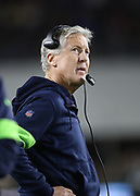 Seattle Seahawks head coach Pete Carroll during an NFL football game against the Los Angeles Rams, Sunday, Dec. 8, 2019, in Los Angeles, Calif. The Rams defeated the Seahawks 28-12. (Peter Klein/Image of Sport)