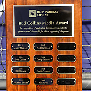 March 16, 2016, Palm Springs, CA:<br /> The Bud Collins Media Award is shown during the 2016 BNP Paribas Open at the Indian Wells Tennis Garden in Indian Wells, California Wednesday, March 16, 2016.<br /> (Photos by Billie Weiss/BNP Paribas Open)