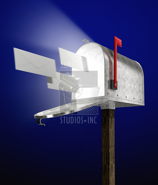 e-mail letters flying into a galvanized mailbox showing volume light flying out