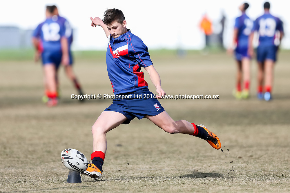 Rosehill College's Nathan Linford convets during Northcote College v Rosehill College, National Secondary Schools Rugby League Tournament, Day 2 , Bruce Pulman Park, Auckland, 2 September 2014. Photo: David Joseph / photosport.co.nz