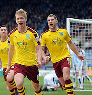 Ben Meed (l) of Burnley celebrates his goal during the Sky Bet Championship match at the John Smiths Stadium, Huddersfield<br /> Picture by Graham Crowther/Focus Images Ltd +44 7763 140036<br /> 12/03/2016
