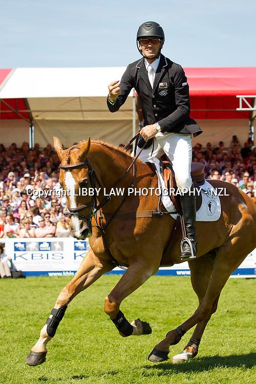 The facial expression says it all. A double clear round for: NZL-Andrew Nicholson (NEREO) 2013 GBR-Mitsubishi Motors Badminton International Horse Trail CCI4*: SHOWJUMPING: FINAL-3RD  (Monday 6 May 2013) CREDIT: Libby Law; COPYRIGHT: LIBBY LAW PHOTOGRAPHY - NZL www.libbylawphotography.com