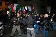 Roma 7 Febbraio  2008.Manifestanti di Casa Pound, e Blocco Studentesco,cercano di occupare il Teatro Brancaccio,per protestare contro l'annullamento del convegno sulle Foibe, le Forze dell'Ordine li bloccano..Gianluca Iannone responsabile di Casapound,fermato dalla polizia.<br />  Rome February 7, 2008.Demonstrators of Casa Pound, and Blocco studentesco, trying to occupy the Teatro Brancaccio,for  protest the cancellation of the conference on Foibe, the police blocked them