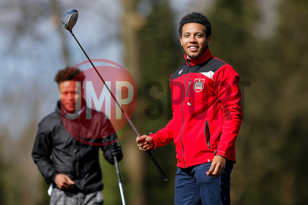 Bobby Reid and Korey Smith join team West Country Mini Buses as they take part in the Bristol City charity Golf day, in aid of Childrens Hospice South West - Mandatory byline: Rogan Thomson/JMP - 16/03/2016 - GOLF - Henbury Golf Club - Bristol, England - Bristol City Charity Golf Day.