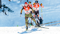 29.01.2017, Casino Arena, Seefeld, AUT, FIS Weltcup Nordische Kombination, Seefeld Triple, Langlauf, im Bild Eric Frenzel (GER), Bernhard Gruber (AUT), Mario Seidl (AUT) // Eric Frenzel of Germany Bernhard Gruber of Austria Mario Seidl of Austria during Cross Country Gundersen Race of the FIS Nordic Combined World Cup Seefeld Triple at the Casino Arena in Seefeld, Austria on 2017/01/29. EXPA Pictures © 2017, PhotoCredit: EXPA/ JFK