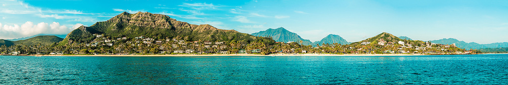 Panorama of Lanikai Beach & the Koolau Mountains, Kailua Bay, Oahu, Hawaii