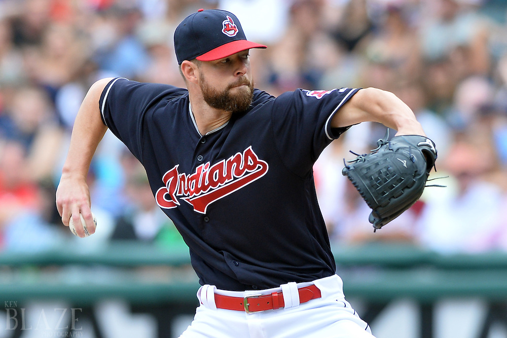 Jul 31, 2016; Cleveland, OH, USA; Cleveland Indians starting pitcher Corey Kluber (28) throws a pitch against the Oakland Athletics during the first inning at Progressive Field. Mandatory Credit: Ken Blaze-USA TODAY Sports