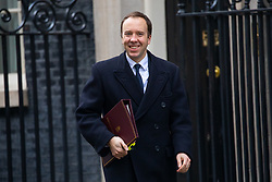 © Licensed to London News Pictures. 29/01/2019. London, UK. Health and Social Care Secretary Matt Hancock leaves 10 Downing Street after attending a Cabinet meeting this morning. Photo credit : Tom Nicholson/LNP