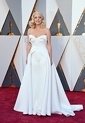 Feb. 28, 2016 - Hollywood, California, U.S. - LADY GAGA, in Brandon Maxwell, on the red carpet during arrivals for the 88th Academy Awards held at the Dolby Theatre. (Credit Image: © Lisa O'Connor via ZUMA Wire)